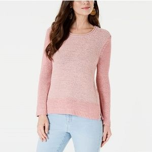 NWT Style & Co Tape Color-Block Sweater Hibiscus